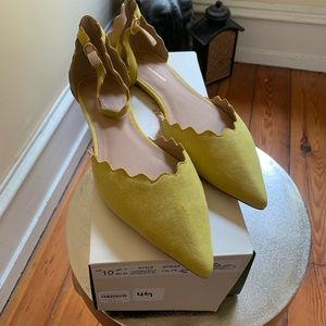 NIB Anthropologie Scalloped D'Orsay Suede Flats